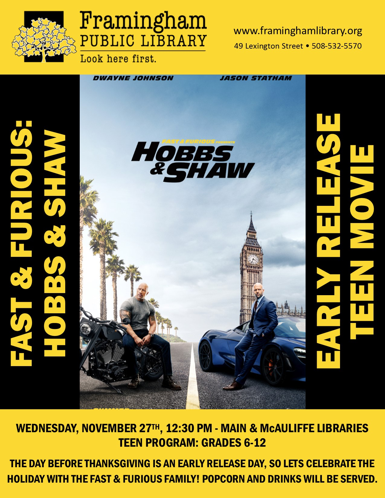 Early Release Movie: Hobbs & Shaw (Main Library) thumbnail Photo
