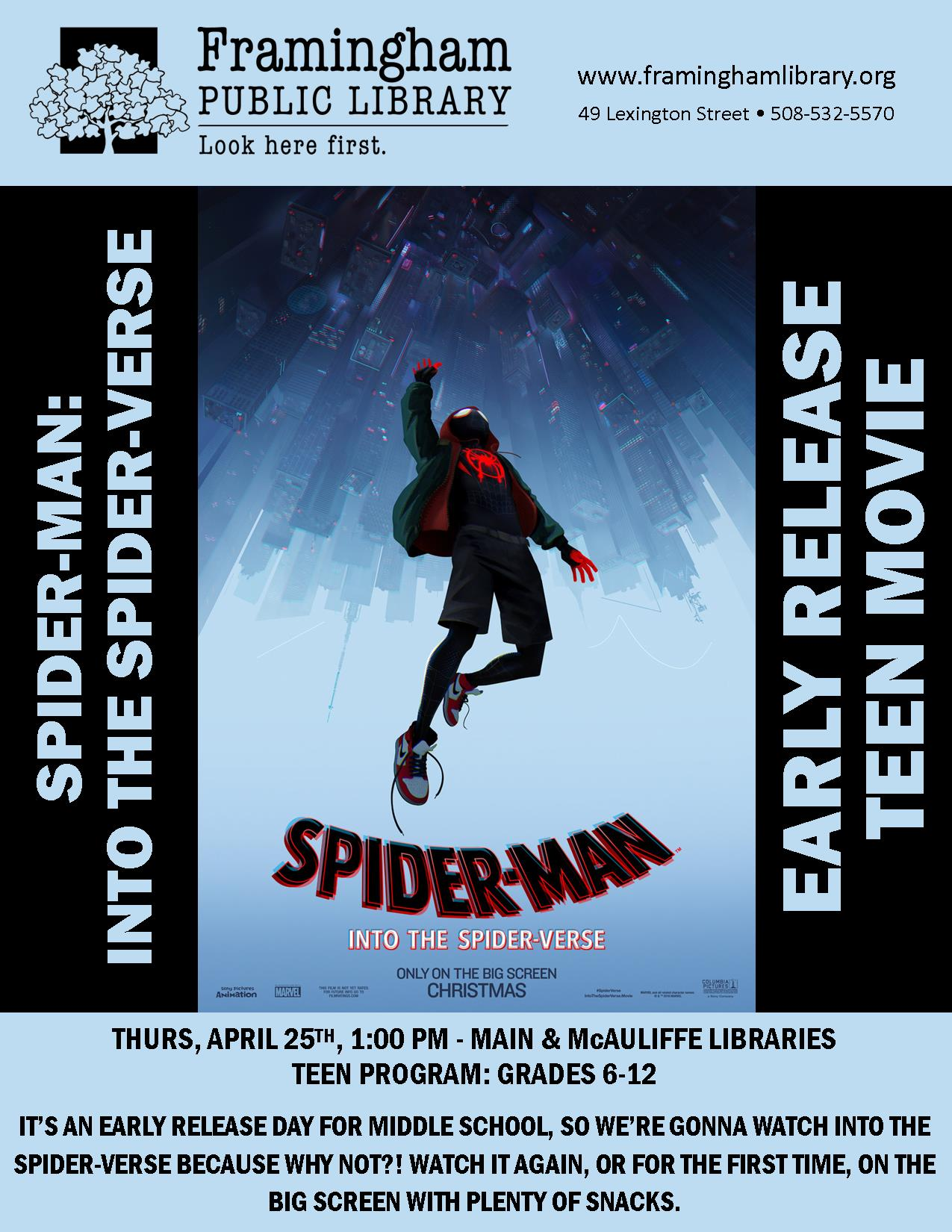 Early Release Teen Movie: Into the Spider-Verse (McAuliffe Branch Library) thumbnail Photo