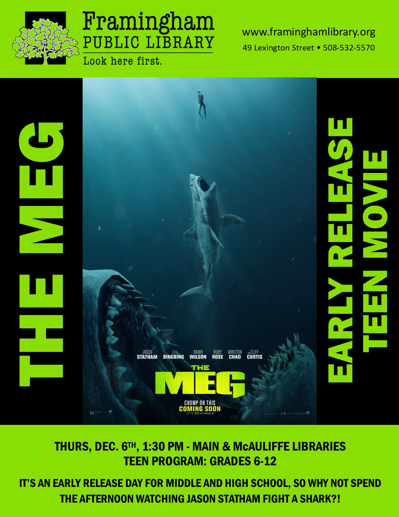 Early Release Teen Movie: The Meg (Main Library) thumbnail Photo