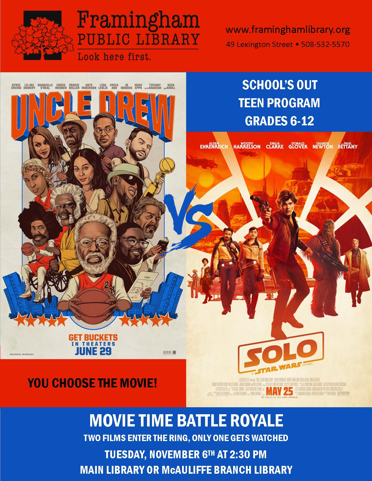 Teen Movie Showdown: Uncle Drew vs. Solo: A Star Wars Story (Main Library) thumbnail Photo