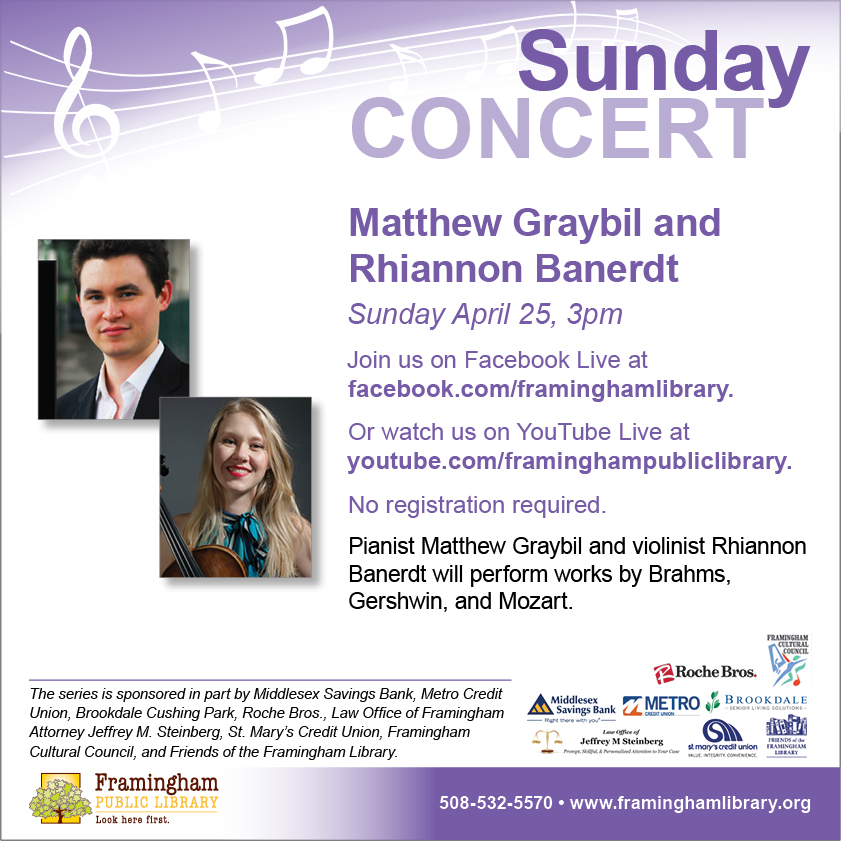 Sunday Classical Concert: Pianist Matthew Graybil and Violinist Rhiannon Banerdt thumbnail Photo