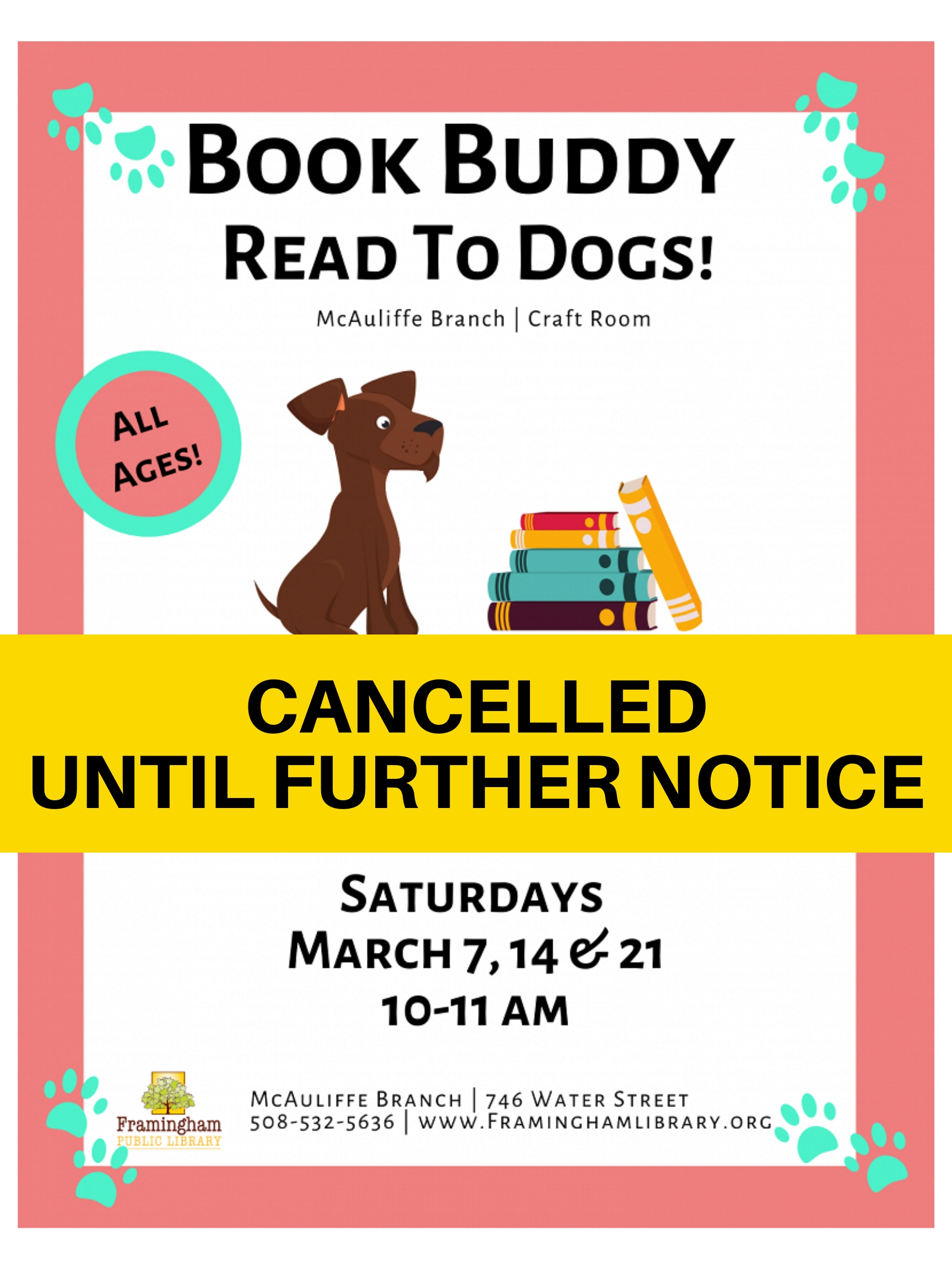 Book Buddy: Reading to Dogs (SESSIONS CANCELLED UNTIL FURTHER NOTICE) thumbnail Photo