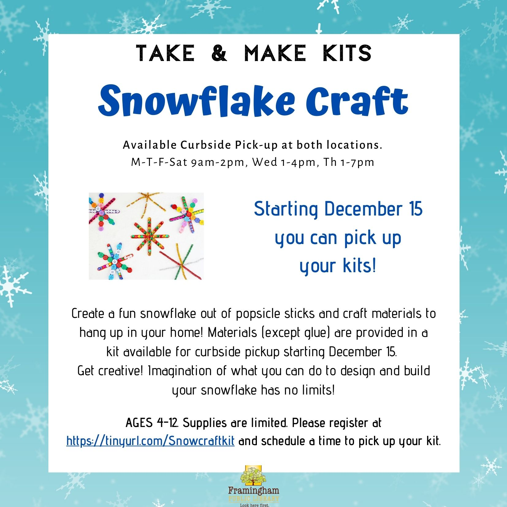 ALL KITS RESERVED: Take & Make Kit: Snowflake Craft thumbnail Photo