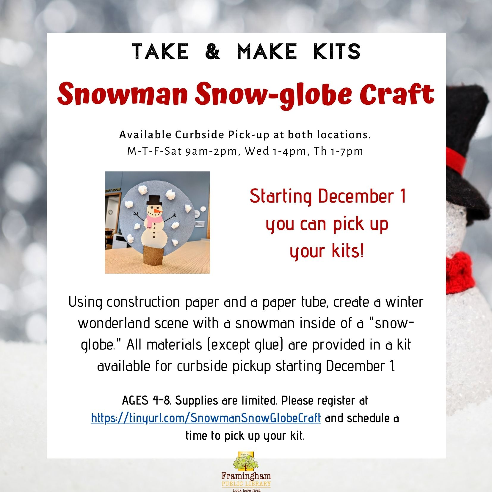 Take & Make Kit: Snowman Snow-globe Craft thumbnail Photo