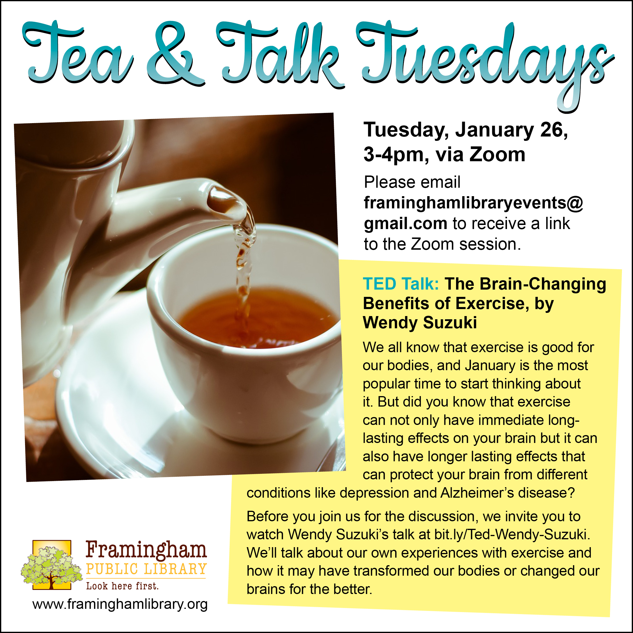 Tea and Talk Tuesdays: TED Talk: The Brain-Changing Benefits of Exercise, by Wendy Suzuki thumbnail Photo