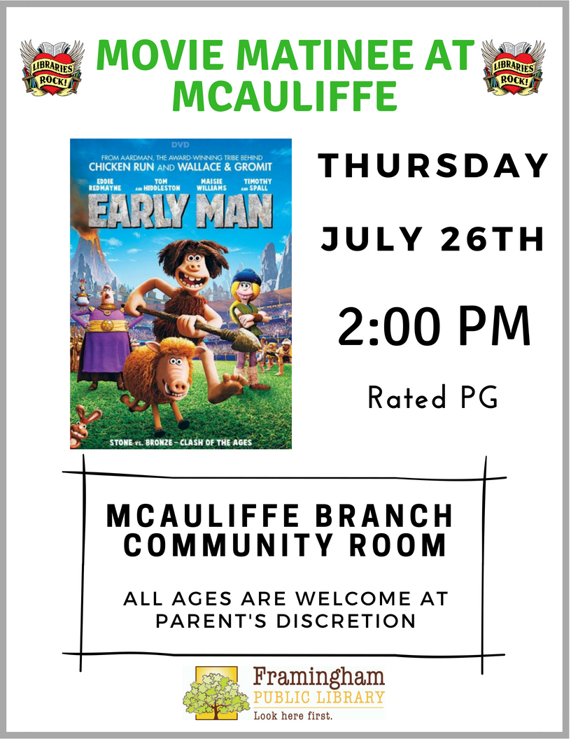 Movie Matinee at McAuliffe Branch: Early Man thumbnail Photo