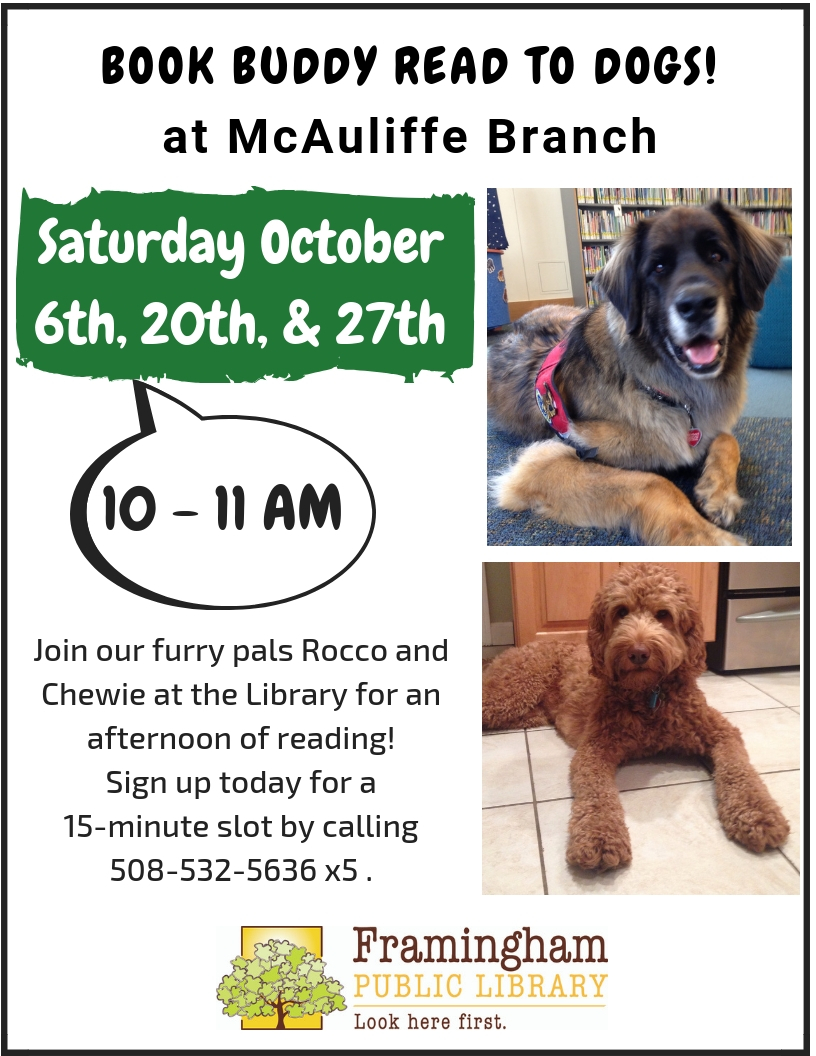Book Buddy Read to Dogs @ McAuliffe Branch thumbnail Photo