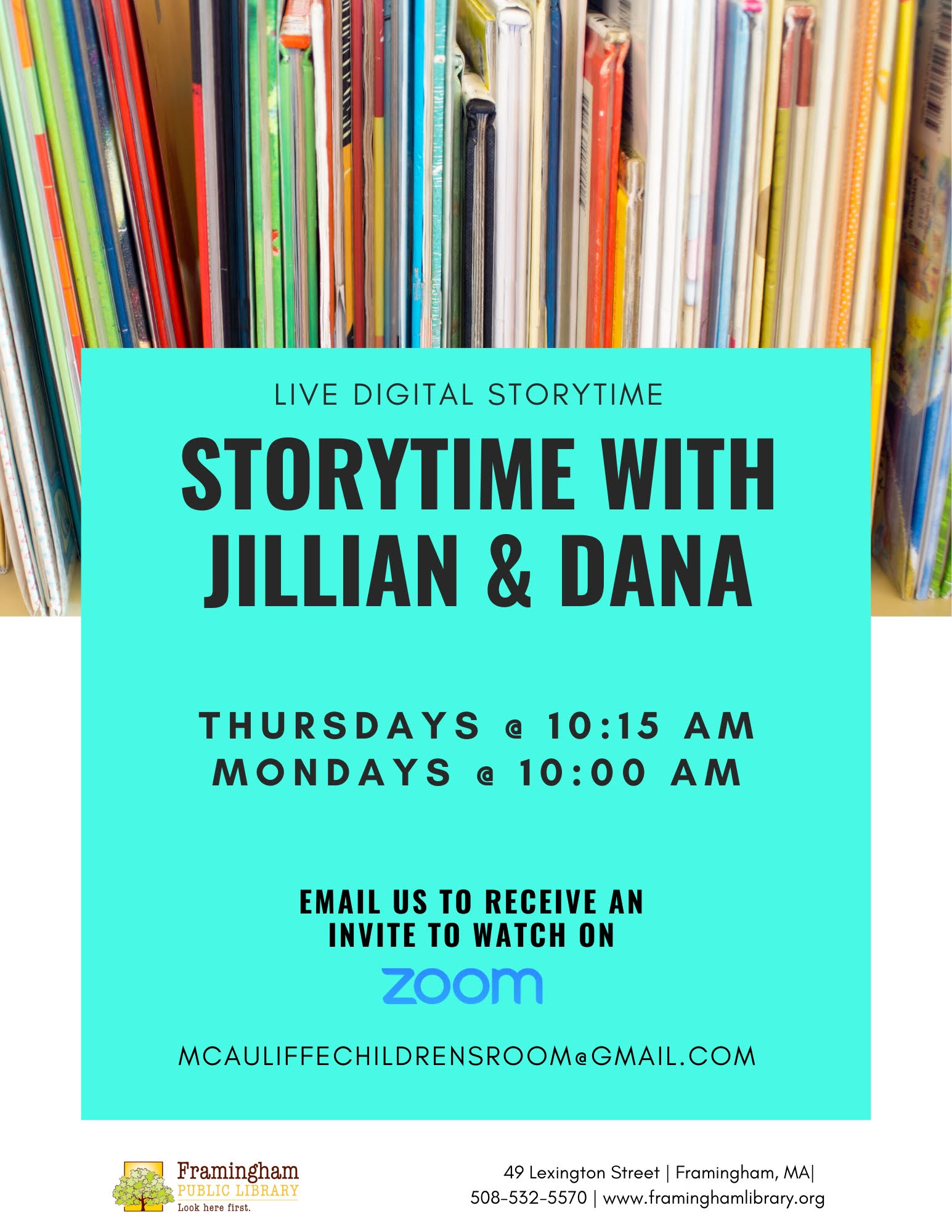 Weekly Zoom Storytimes with Jillian and Dana thumbnail Photo