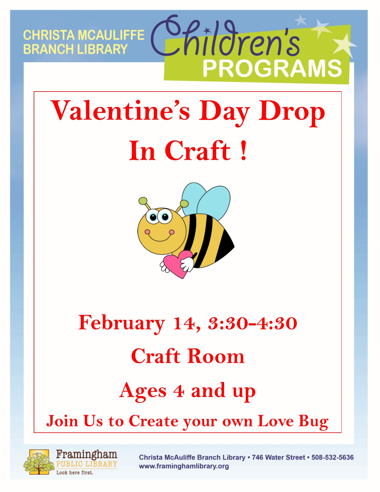 Valentine's Day Open Craft at McAuliffe thumbnail Photo