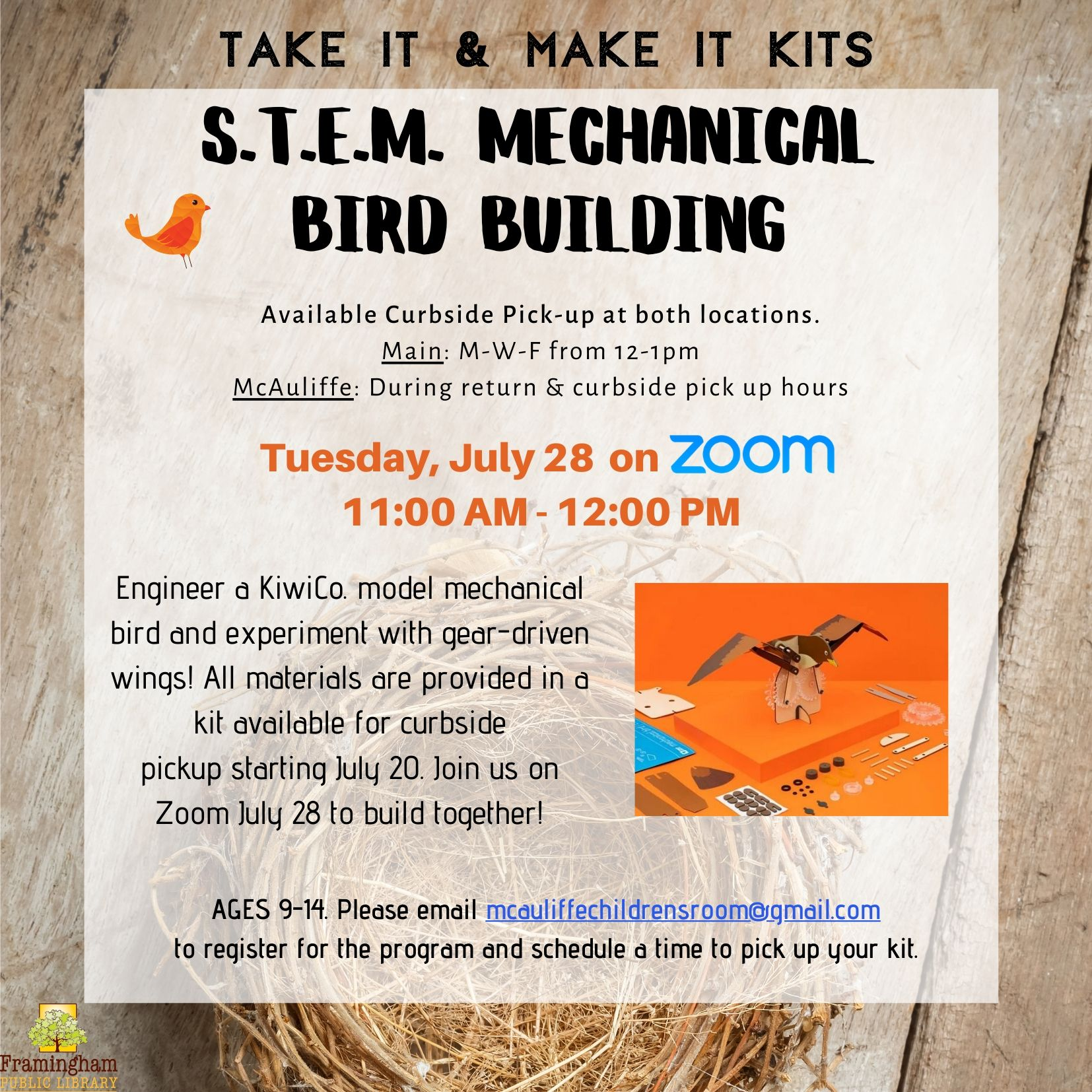 Take and Make Kit: S.T.E.M. Mechanical Bird Building thumbnail Photo
