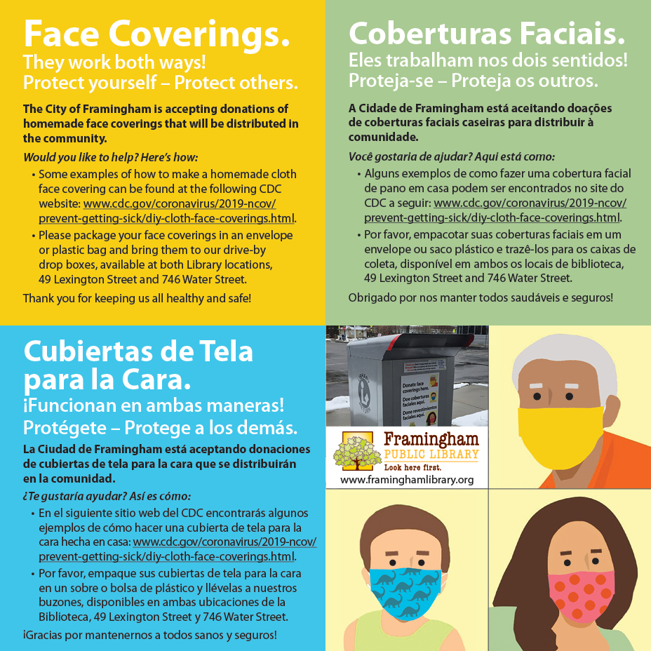 Face coverings. Call for donations. In English, Spanish, Portuguese