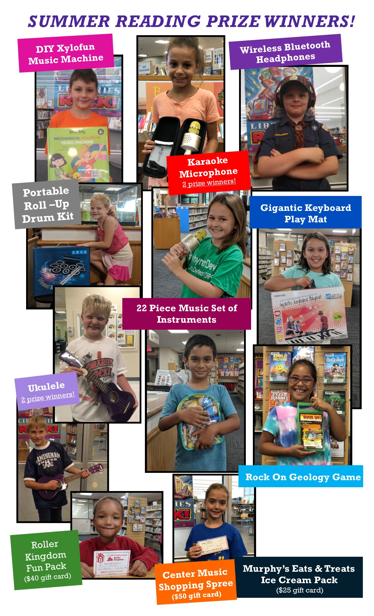 photo collage of kids posing with their summer reading prizes