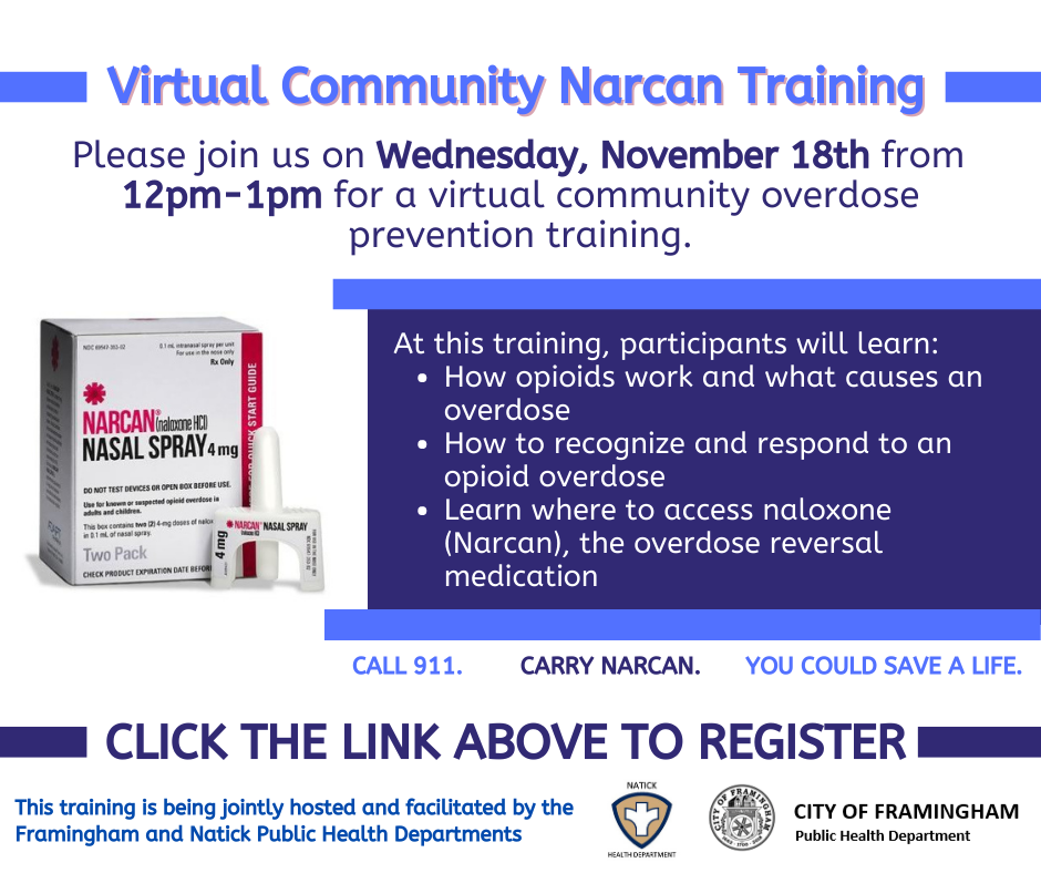 Virtual Community Narcan Training, Wednesday, November 18, 12pm-1pm