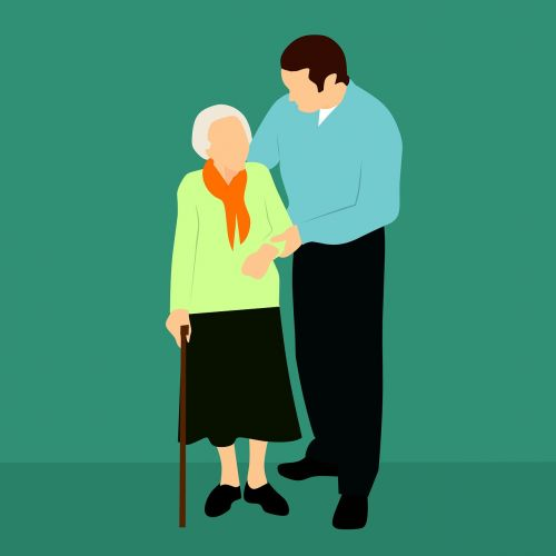 Main helping elderly woman with cane
