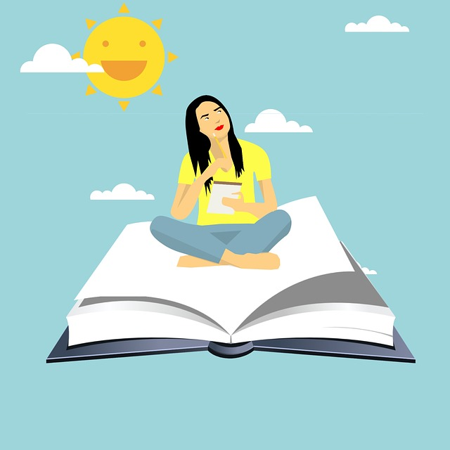 Cartoon image of girl sitting on a flying book with background of sky and sun