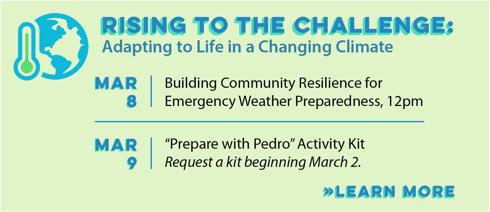 "Changing Climate Series: Pick Up Your ""Prepare with Pedro"" Activity Kit thumbnail Photo"