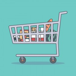 cartoon image of cart with grocery items