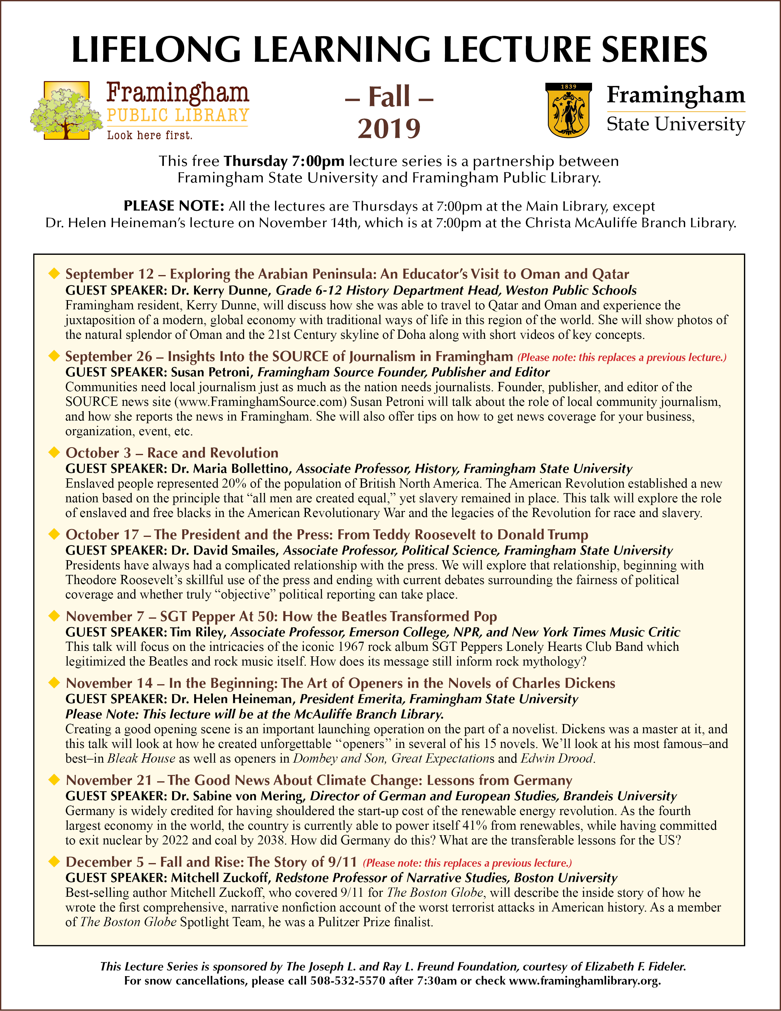 Lifelong learning lecture series poster fall 2019