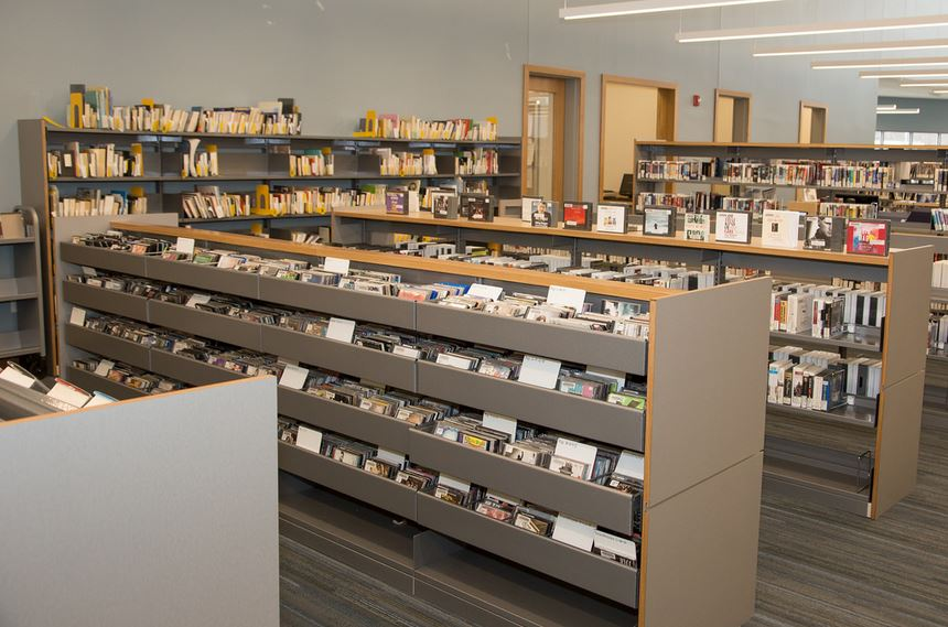 photo of music CDs at McAuliffe library