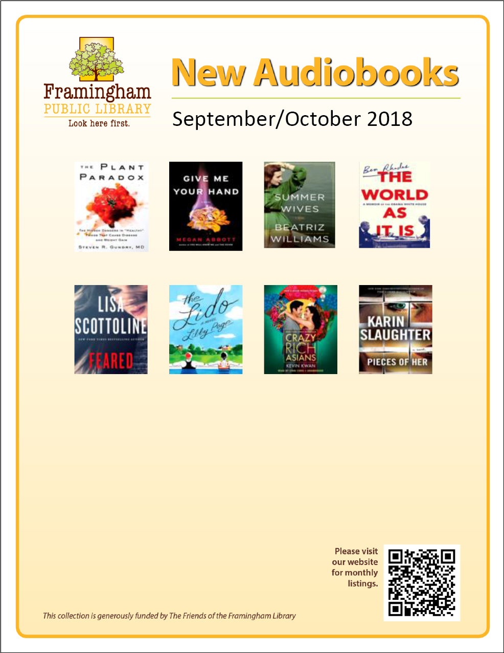 poster of new audiobooks September and October 2018