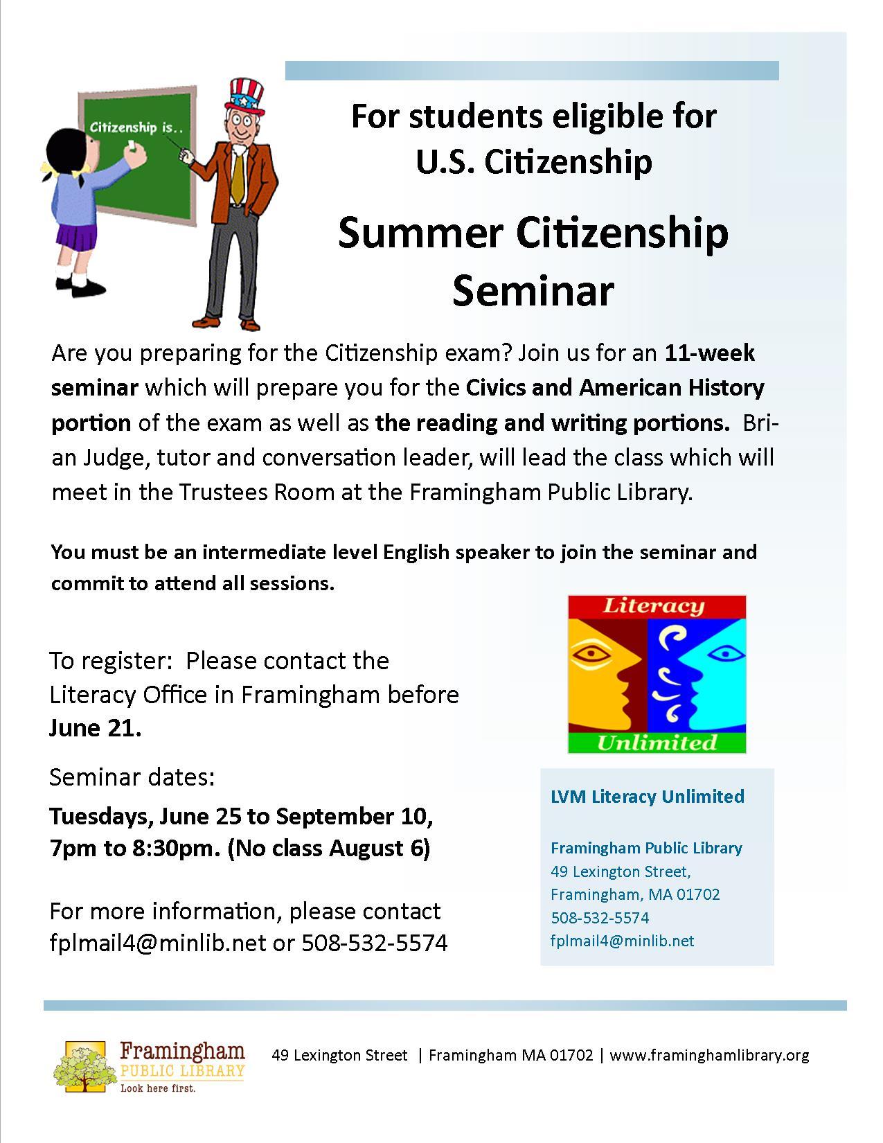 The Citizenship Corner | Services | Framingham Public Library