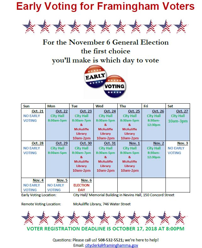 Early Voting for Framingham schedule