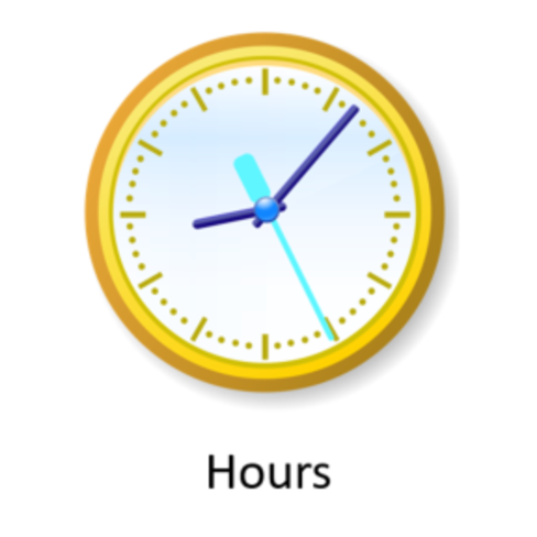 image of round clock with label Hours