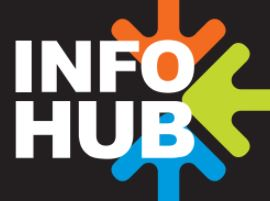 Info Hub in white letters with three arrows of different colors converging