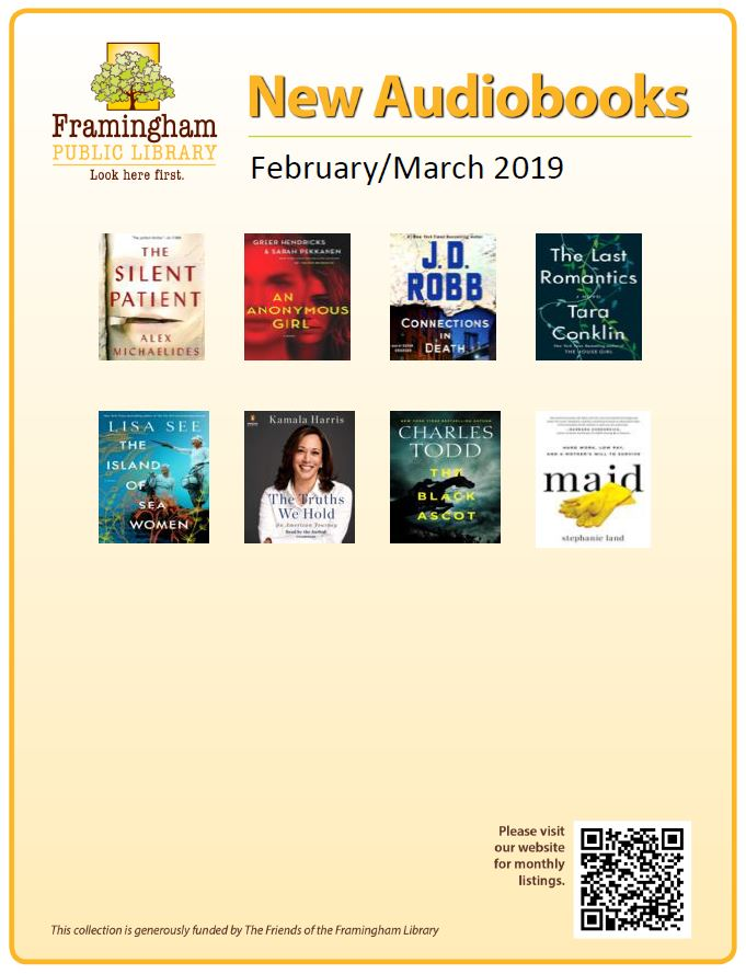 poster of new audiobooks Jan and Feb 2019