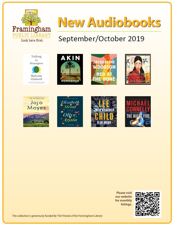 poster of new audiobooks Sept and Oct 2019