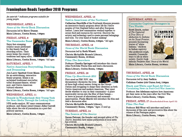 Framingham reads together events program series framingham the following exciting lineup of events will take place april 4 27 all programs are free and open to the public pick up a copy of the book and a brochure fandeluxe Choice Image