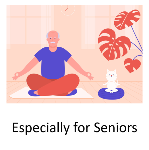 senior man meditating in lotus position with cat