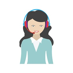 cartoon of smiling woman with headset